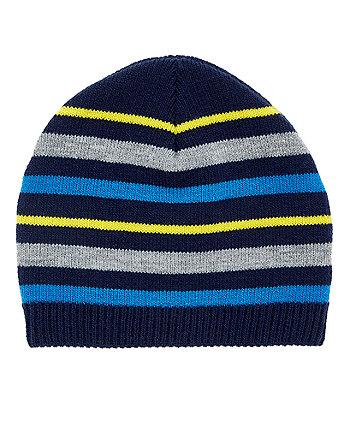 navy stripe magic beanie hat