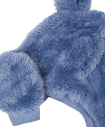 blue fluffy trapper hat and mittens set