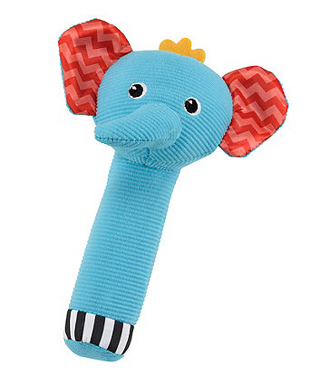 Mothercare Baby Safari Squeaker Rattle - Elephant