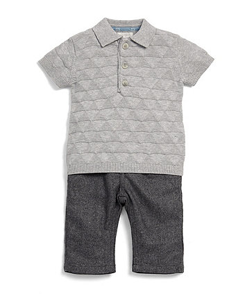Mamas & Papas knitted polo shirt and trouser set