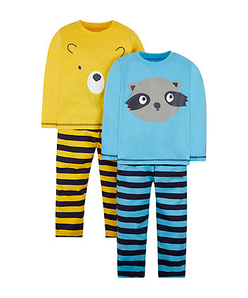 bear and raccoon pyjamas - 2 pack