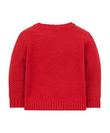 red reindeer knitted jumper