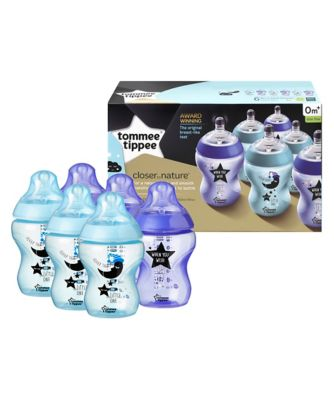 Tommee Tippee closer to nature decorated bottles 260ml x 6 - blue