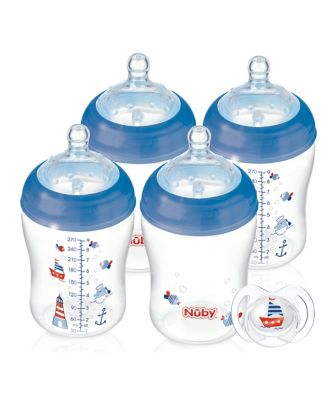 Nuby natural touch nautical bottles 270ml - 4 pack