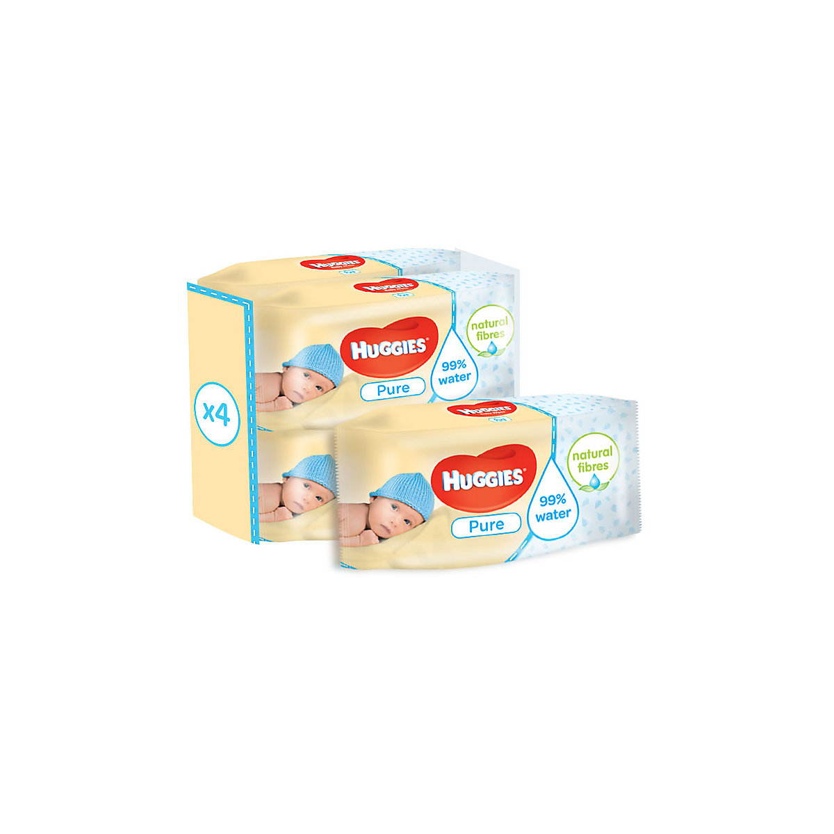 Huggies pure wipes - 4 x 56 pack