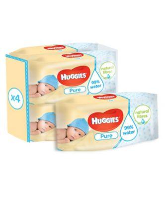 Huggies pure wipes - 4 x 56 pack