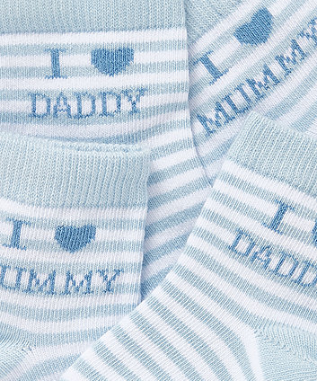 i love mummy and daddy socks (blue) - 2 pack