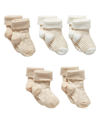 beige turn-over-top socks - 5 pack