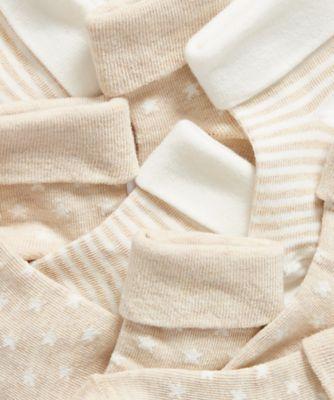beige turn-over-top socks - 5 pack