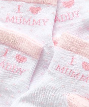 i love mummy and daddy socks (pink) - 2 pack