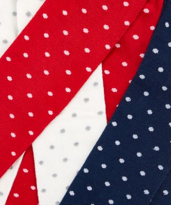 red, cream and navy spot tights - 3 pack