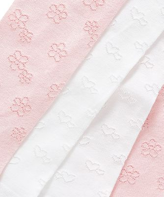 pink and white tactel tights - 2 pack