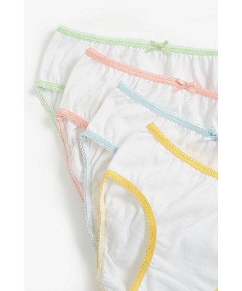 white colour-trim briefs - 5 pack