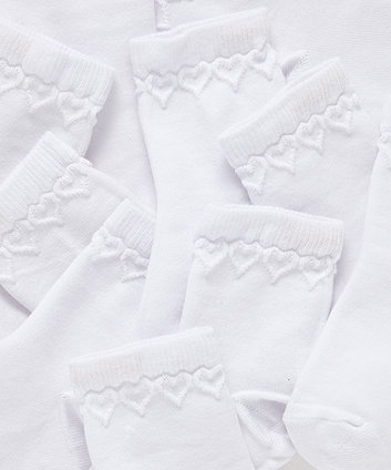 white heart socks - 5 pack