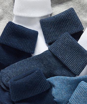 blue turn-over-top  socks - 5 pack