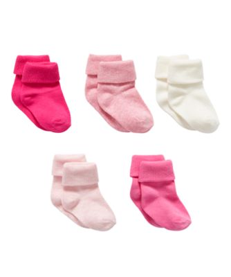 pink turn-over-top socks - 5 pack
