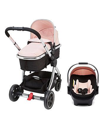 a26e3e3dd7a9 mothercare 4-wheel journey chrome travel system - blush