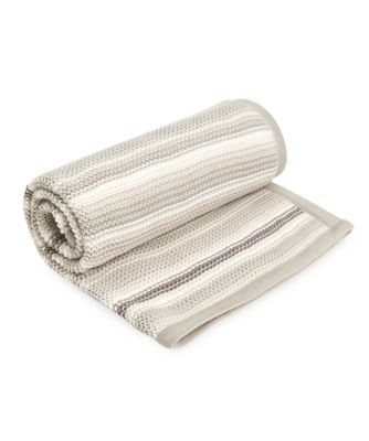 mothercare grey stripe knitted blanket