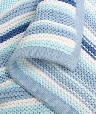 mothercare blue stripe knitted blanket