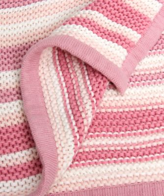 mothercare pink stripe knitted blanket
