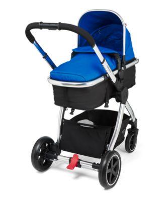 mothercare 4-wheel journey chrome travel system - blue