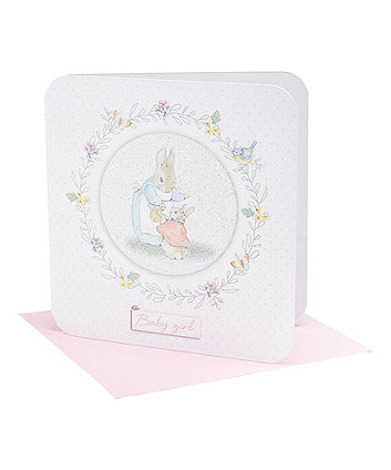 peter rabbit baby girl card