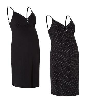 black cami nursing nightdresses - 2 pack