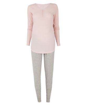 pink and grey nursing pyjama set