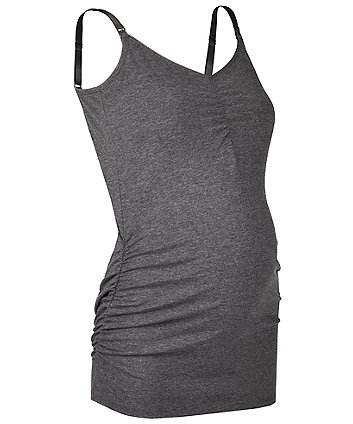 charcoal marl nursing vest with inner support