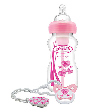Dr Brown's options bottle and soother gift set – pink
