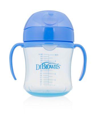 Dr Browns 6oz/180ml soft spout trainer cup with handles - blue (6months+)