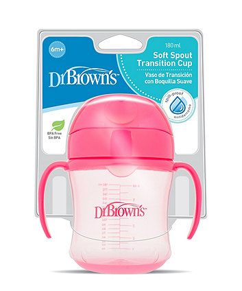 Dr Browns 6oz/180ml soft spout trainer cup with handles - pink (6months+)