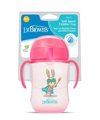 Dr Browns 9 oz/270 ml soft spout toddler cup - pink (9months +)