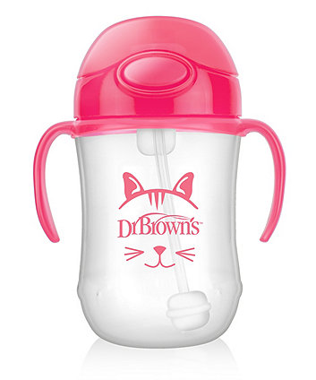 Dr Browns weighted straw cup 9oz / 27oml - pink