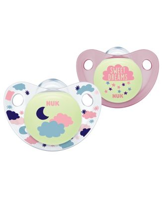 NUK night and day size 1 silicone soothers - pink