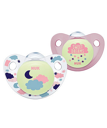 NUK night and day size 2 silicone soothers - pink