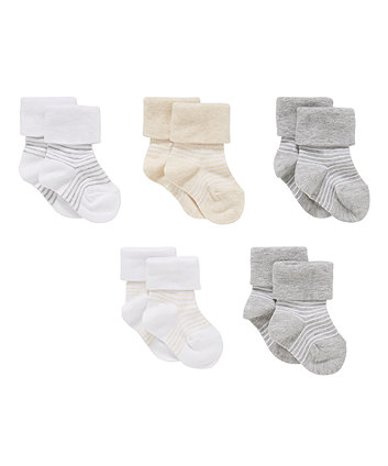 grey striped turn-over-top socks - 5 pack