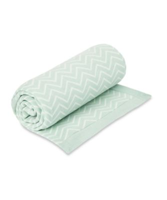 welcome home chevron knitted blanket - mint