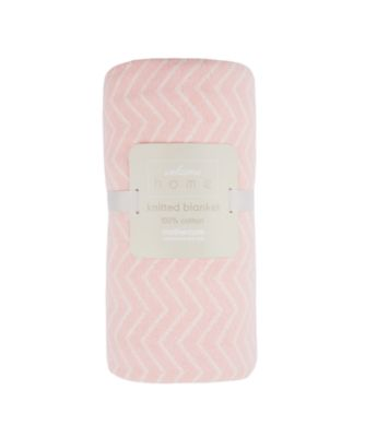 welcome home chevron knitted blanket - pink