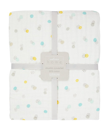 welcome home muslin coverlet/blanket - mint