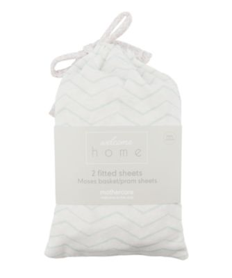 welcome home moses basket/pram sheets (2 pack) - mint