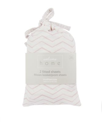 welcome home moses basket/pram sheets (2 pack) - pink