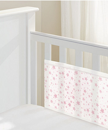 BreathableBaby 2-sided mesh cot liner - twinkle pink
