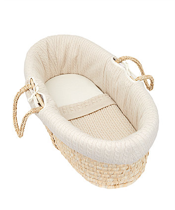 mothercare knitted moses basket and bedding set