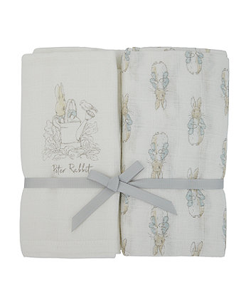 peter rabbit extra large muslin blankets - 2 pack