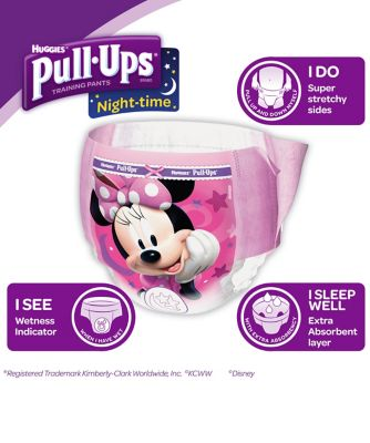 Huggies pull ups night time potty training pants pink - large (12 pants)