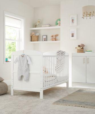Little Acorns harbour cot bed - white