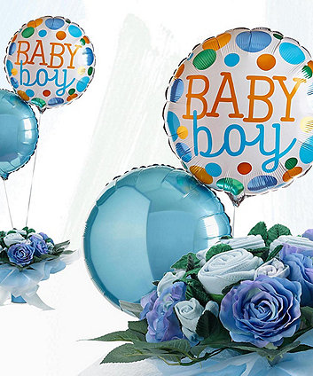 babyblooms welcome baby boy balloons with hand tied bouquet - blue