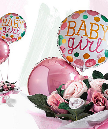 babyblooms welcome baby girl balloons with hand tied bouquet - pink