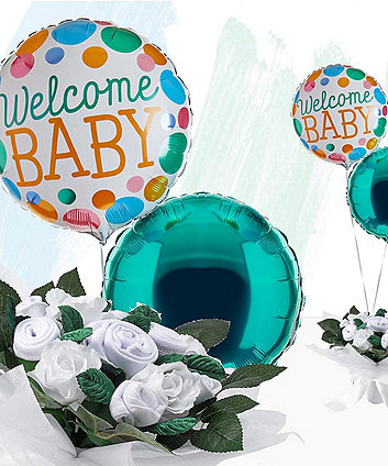 babyblooms welcome baby balloons with hand tied bouquet - white